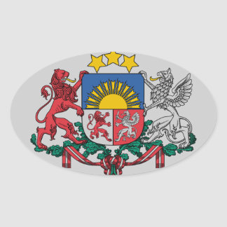 Latvian coat of arms oval sticker