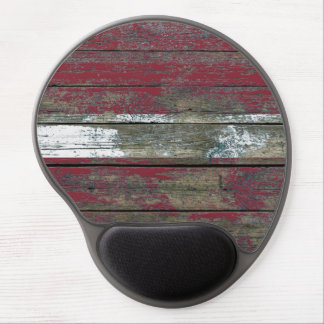 Latvian Flag on Rough Wood Boards Effect Gel Mouse Pad