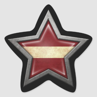 Latvian Flag Star on Black Star Sticker