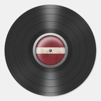 Latvian Flag Vinyl Record Album Graphic Classic Round Sticker