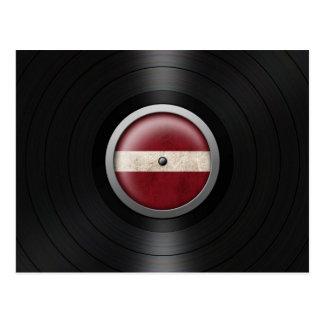 Latvian Flag Vinyl Record Album Graphic Postcard