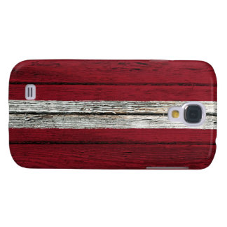 Latvian Flag with Rough Wood Grain Effect Galaxy S4 Cover