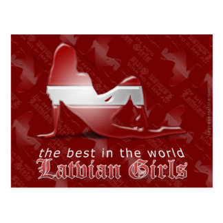Latvian Girl Silhouette Flag Postcard