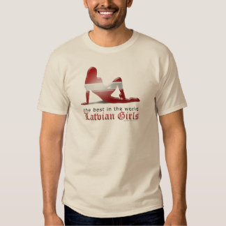 Latvian Girl Silhouette Flag T Shirts