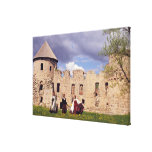 Latvian girls in traditional dress, singing stretched canvas print