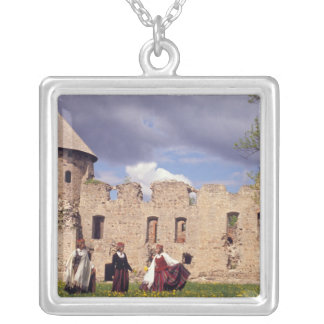 Latvian girls in traditional dress, singing square pendant necklace