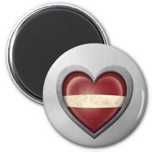 Latvian Heart Flag Stainless Steel Effect Refrigerator Magnets