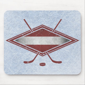 Latvian Hockey Flag Logo Mouse Pad