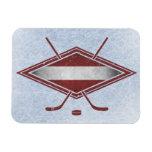 Latvian Hockey Flag Logo Rectangular Magnet