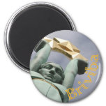 Latvian maget with feedom monument 2 inch round magnet