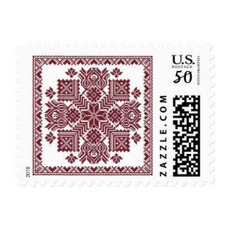 Latvian pillow design on stamp