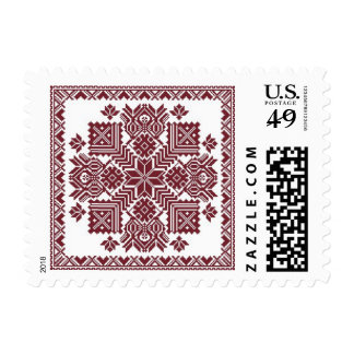 Latvian pillow design on stamp