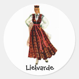 Latvian regional costume for Lielvarde Classic Round Sticker