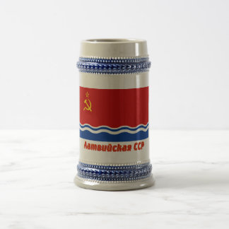 Latvian SSR Flag with Name 18 Oz Beer Stein