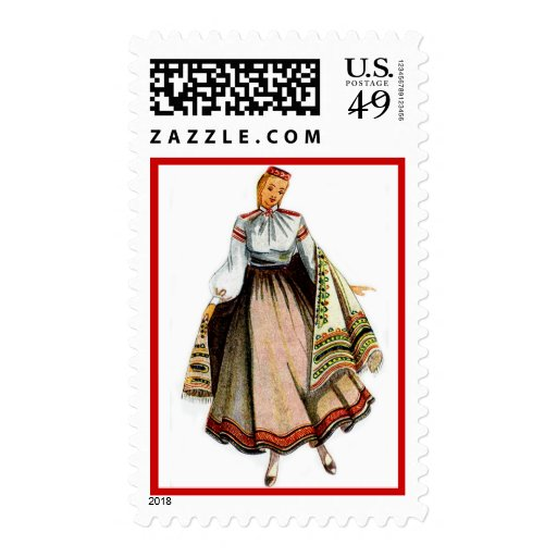 Latvian stamp with tradional costume