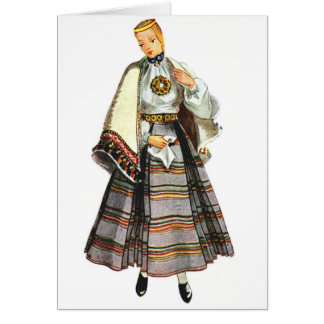 Latvian traditional costume greeting cards