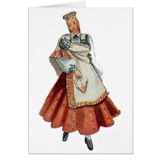 Latvian Tradtitional costume Nica Stationery Note Card