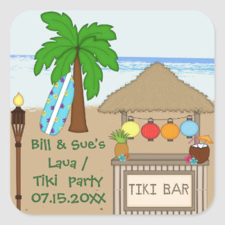 Laua / Tiki  party  Favor stickers