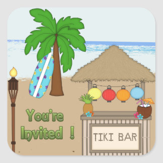 Laua / Tiki  party  Invitation Envelope Seal