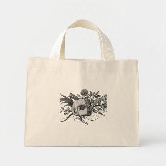 Laúd blanco y negro y plantas gráficos bolsa tela pequeña