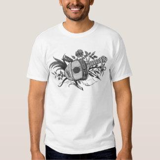 Laúd blanco y negro y plantas gráficos camisas