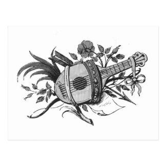 Laúd blanco y negro y plantas gráficos postal