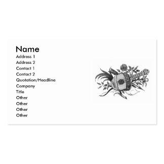 Laúd blanco y negro y plantas gráficos tarjetas de visita