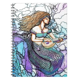 Laúd de la sirena que juega el agua de azules turq libretas