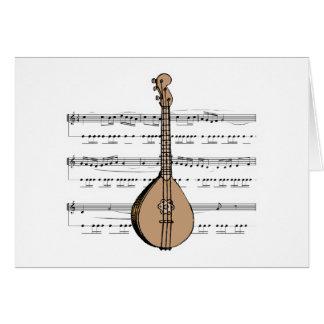 laúd y partitura de la mandolina felicitación