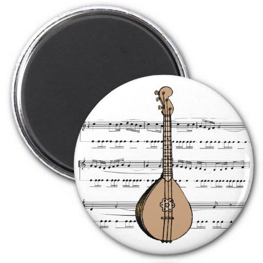 laúd y partitura de la mandolina imán de frigorífico