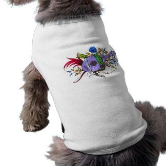 Laúd y plantas azules camisas de perritos