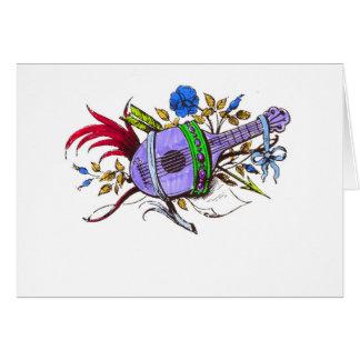 Laúd y plantas azules felicitacion