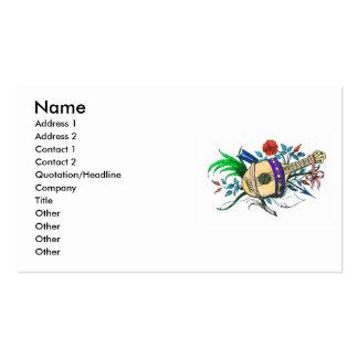 Laúd y plantas coloreados naturales tarjetas de visita