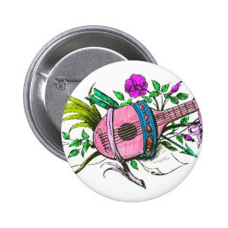 Laúd y plantas del rosa del Victorian del vintage Pin Redondo De 2 Pulgadas