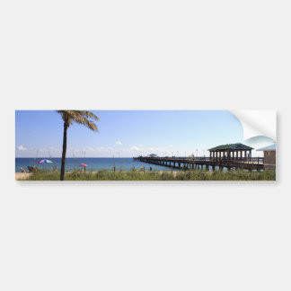 Lauderdale-by-the-Sea Florida Beach and Pier Bumper Sticker