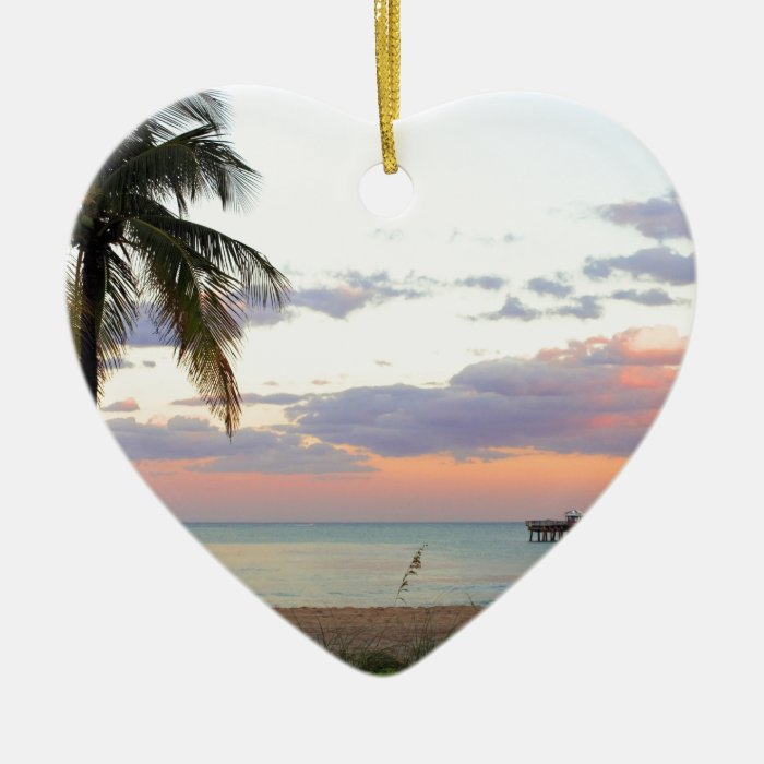 Lauderdale-by-the-Sea, Florida Sunset Ceramic Ornament