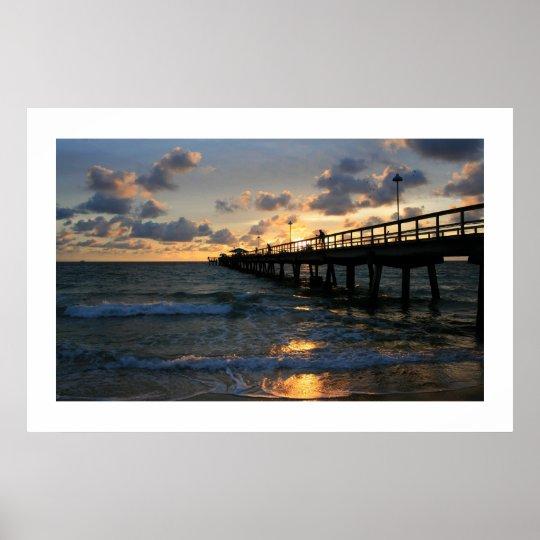 Lauderdale Pier Silhouettes Poster