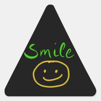 laugh-631917 CUTE SMILE HAPPY FACE CARTOON NEON SK Triangle Sticker