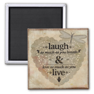 Laugh and Live 2 Inch Square Magnet