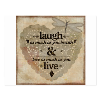 Laugh As Much AsYou Breathe Mindfulness Quote Gift Postcard
