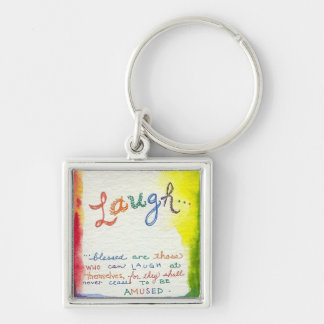 Laugh Colorful Watercolor Painting Keychain