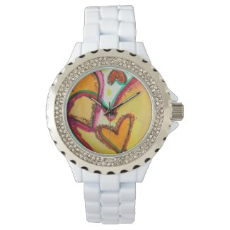 Laugh Hearts Connect Colorful Art Custom Watch