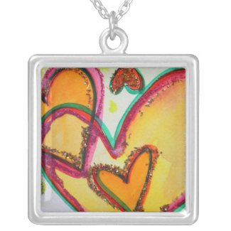 Laugh Hearts Connect Silver Necklace Jewelry Charm necklace