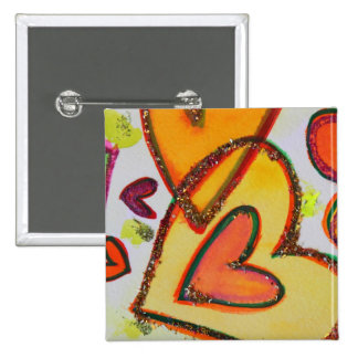 Laugh Hearts Crossing Art Buttons or Lapel Pins