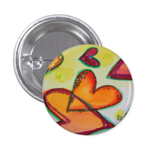 Laugh Hearts Flying Art Buttons or Pins Jewelry