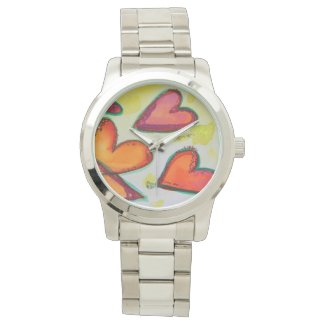Laugh Hearts Flying Colorful Art Custom Watch