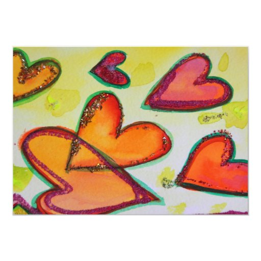 Laugh Hearts Flying Custom Invitations or  Invites