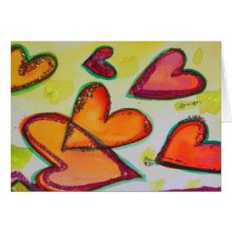 Laugh Hearts Flying Greeting Cards and Note Cards card