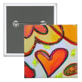 Laugh Hearts Garden Art Buttons or Lapel Pins