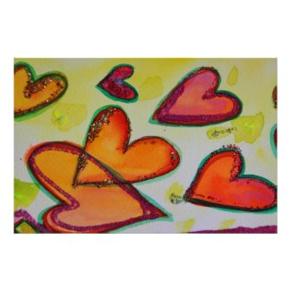 Laugh Hearts Painting Art Poster Print